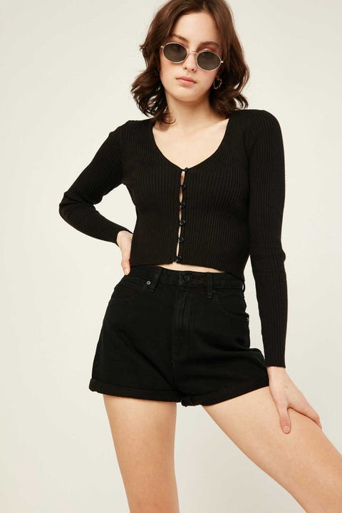 ABRAND A. High Relaxed Short Over Dye Black