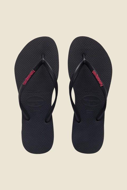 HAVAIANAS Slim Rubber Logo Black/Neon Pink