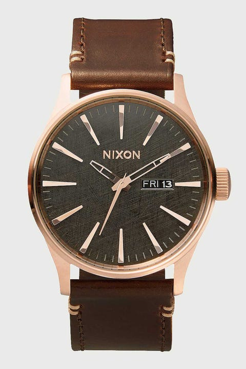 Nixon Sentry Leather Rose Gold/Gunmetal/Brown