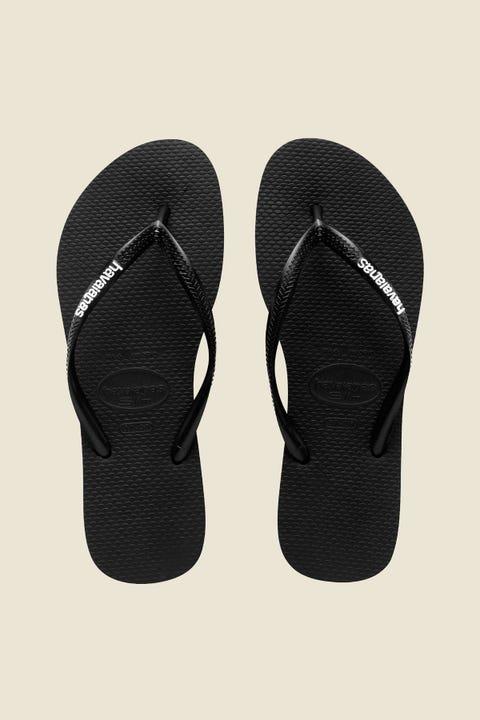 Havaianas Slim Rubber Logo Black/White