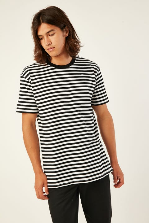 AS COLOUR Staple Stripe Tee Black/White
