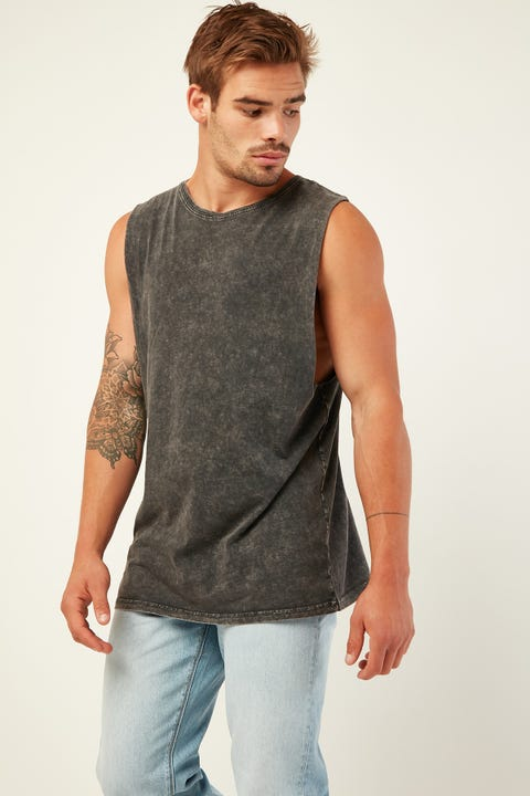 AS COLOUR Barnard Acid Wash Muscle Acid Black