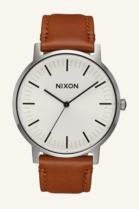 NIXON Porter Leather White Sunray/Saddle