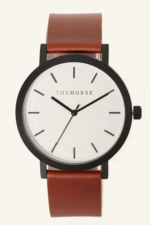 The Horse Original Watch Matte Black/White Face/Tan Leather