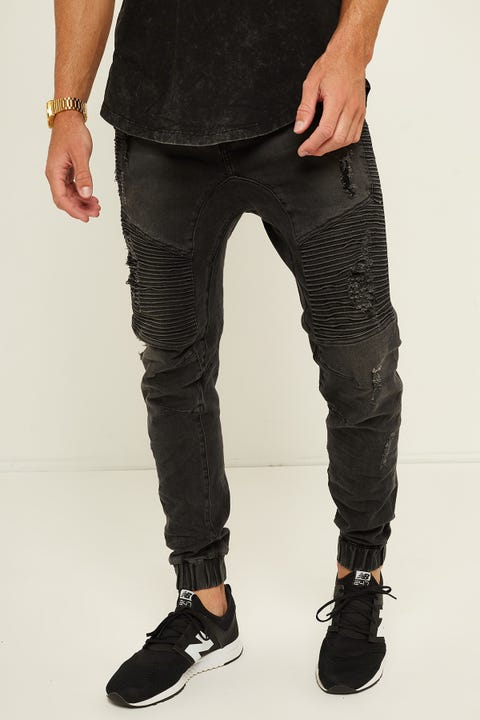 KISS CHACEY Zeppelin Denim Jogger Black Rip