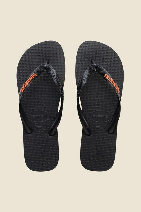 HAVAIANAS Rubber Logo Thong Black Orange