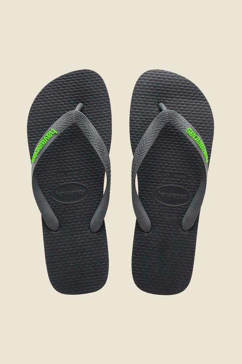 Havaianas Rubber Logo Thong Black Green