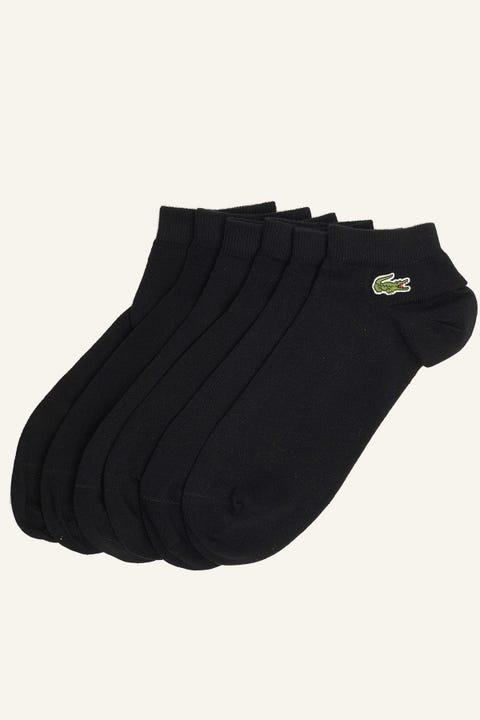 LACOSTE 3 Pack Sport Ankle Socks Black/Black