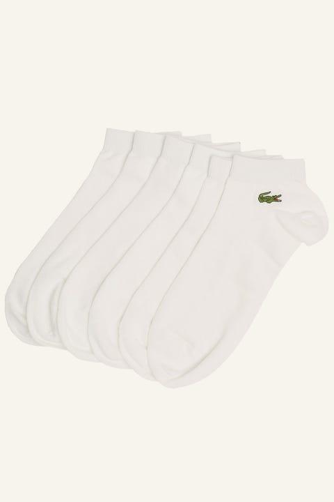LACOSTE 3 Pack Sport Ankle Socks White/White