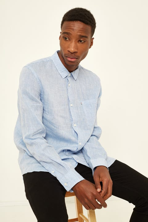 THE ACADEMY BRAND Newport Linen LS Shirt Chambray Blue