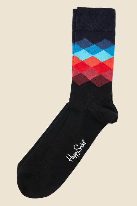 Happy Socks Faded Diamond Sock Navy/Red