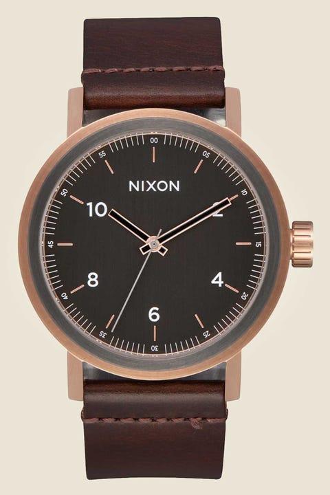NIXON Stark Leather Rose Gold/Gunmetal/Brown