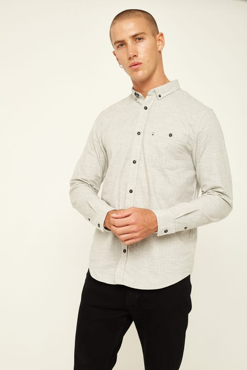 The Academy Brand Toby LS Shirt Grey Grey
