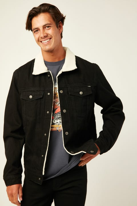 THRILLS Sherpa Wanderer Denim Jacket Faded Black
