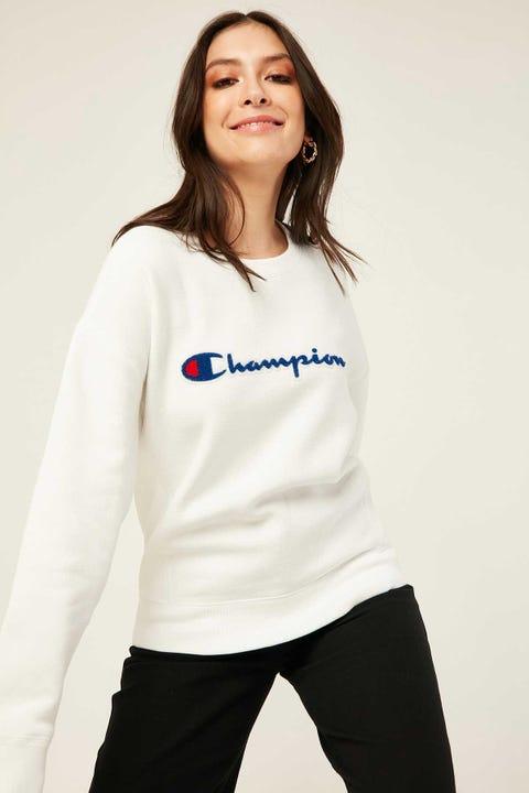 Champion Reverse Weave Chenille Script Crew White