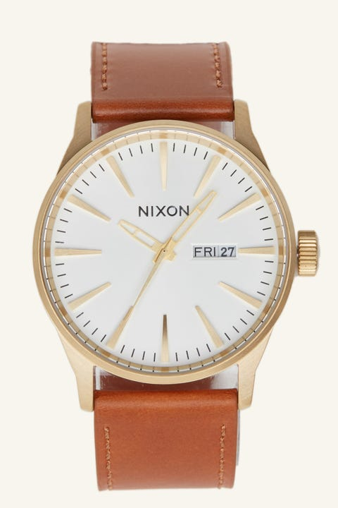 NIXON Sentry Leather Gold/White/Saddle