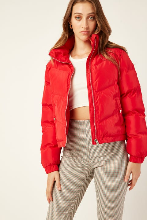 LUCK & TROUBLE Puff Jacket Red