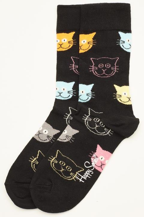 HAPPY SOCKS Cat Sock Black/Multi Colour