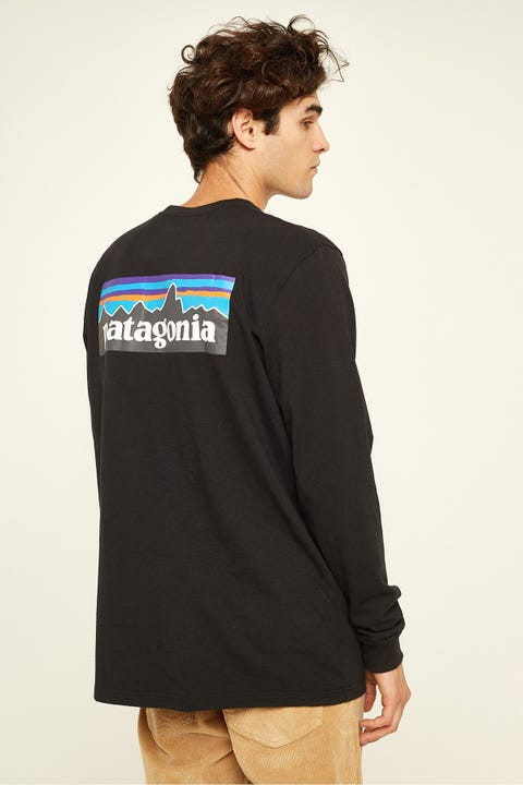 PATAGONIA M's P-6 Logo LS Tee Black