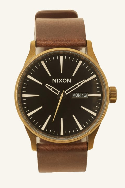 Nixon Sentry Leather Brass/Black/Brown