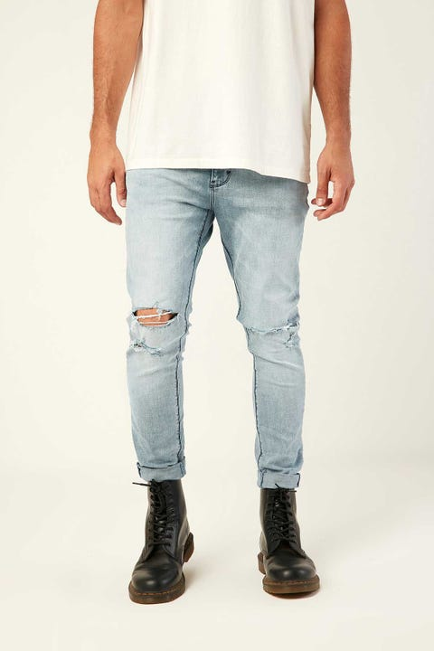 Abrand A Dropped Skinny Turn Up Jean Lite Blue Denim