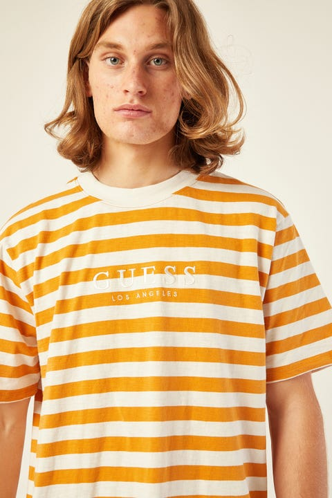 GUESS ORIGINALS Guess Go SS Stripe Tee Nugget Yellow Gold