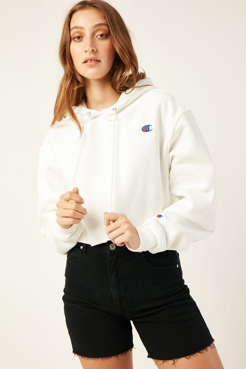 Champion Reverse Weave Cropped Hoodie White