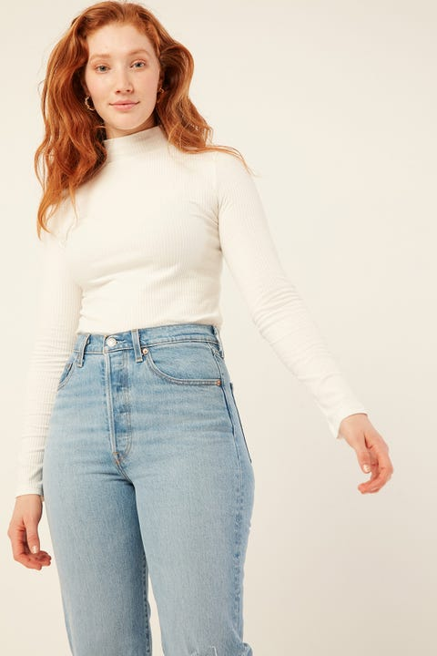 PARE BASIC Skivvy Top White