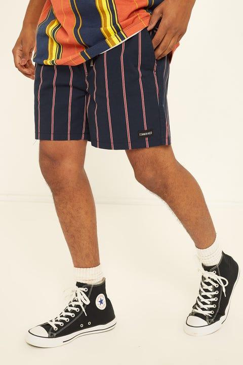 COMMON NEED Scholar Vertical Stripe Short Navy Stripe