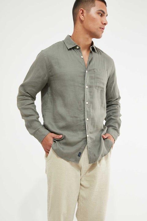 The Academy Brand Hampton LS Shirt Olive Green