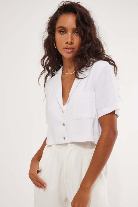 Perfect Stranger Crop Resort Shirt White