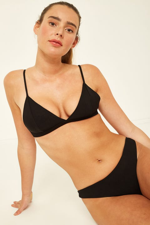Perfect Stranger Triangle Bikini Top Black