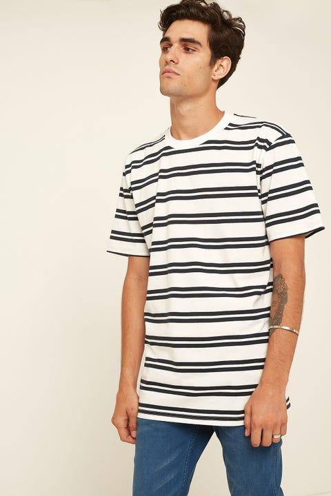 AS COLOUR Classic Stripe Tee White Navy