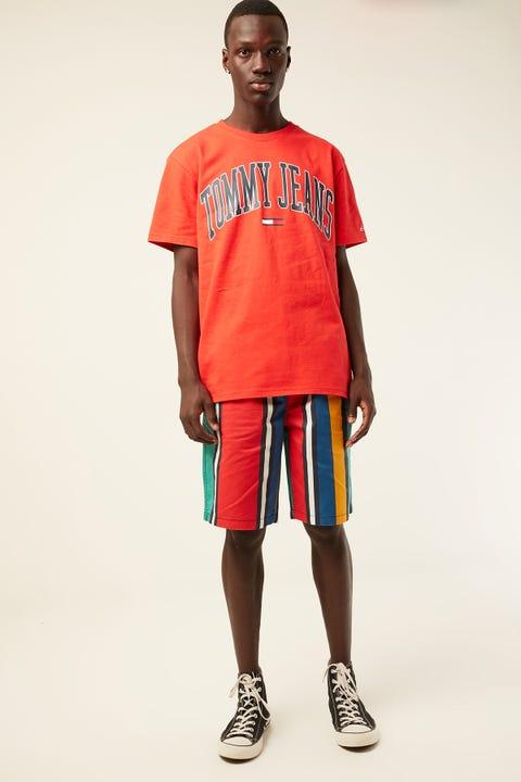 TOMMY JEANS TJM Stripe Basketball Short Dynasty Green / Multi
