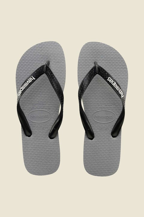 HAVAIANAS Rubber Logo Thong Gray Steel White