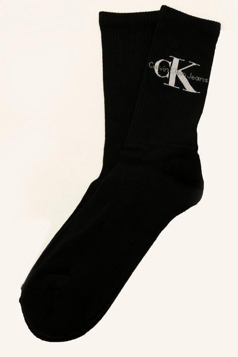 CALVIN KLEIN Logo Rib Crew Sock Black/White