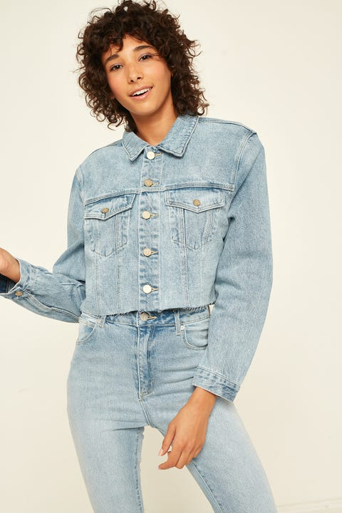 ABRAND A Cropped Denim Jacket Del Ray