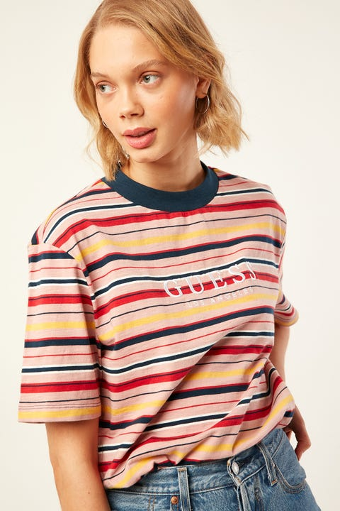 GUESS ORIGINALS SS Go PoPart Stripe OS Crew PoPart Stripe Rogue Pink