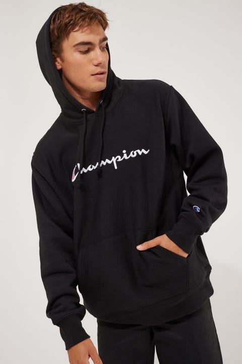 Champion Reverse Weave Script Embro Black