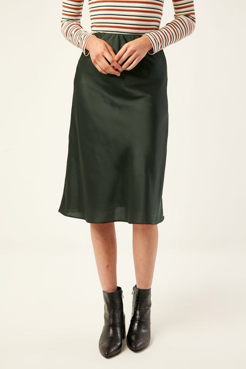 LUCK & TROUBLE Midi Slip Skirt Green