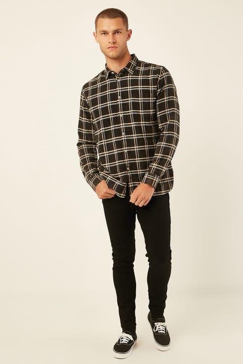 BARNEY COOLS Cabin Shirt Black Plaid