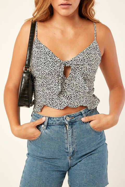 LUCK & TROUBLE Leo Tie Top Black