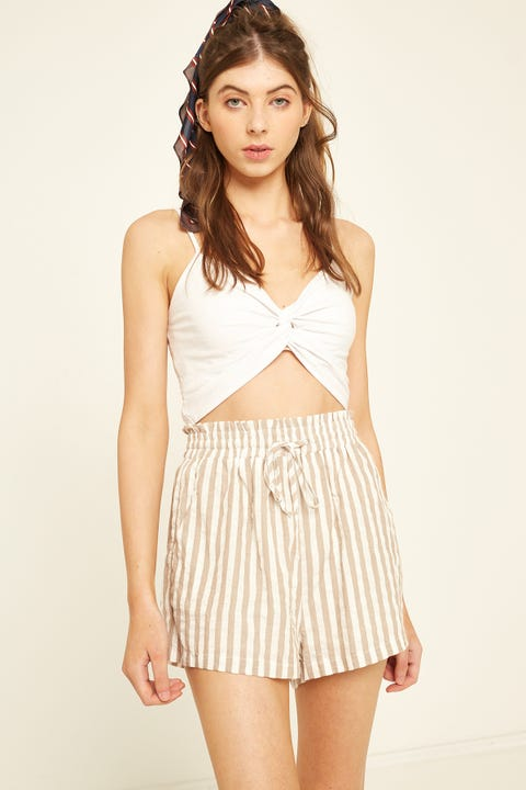 LUCK & TROUBLE Ellie Elastic Short Tan Stripe