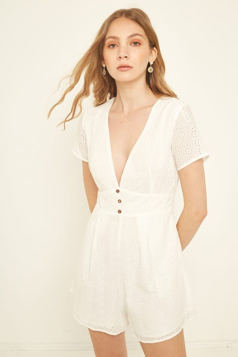 LUCK & TROUBLE Arabella Anglaise Playsuit White