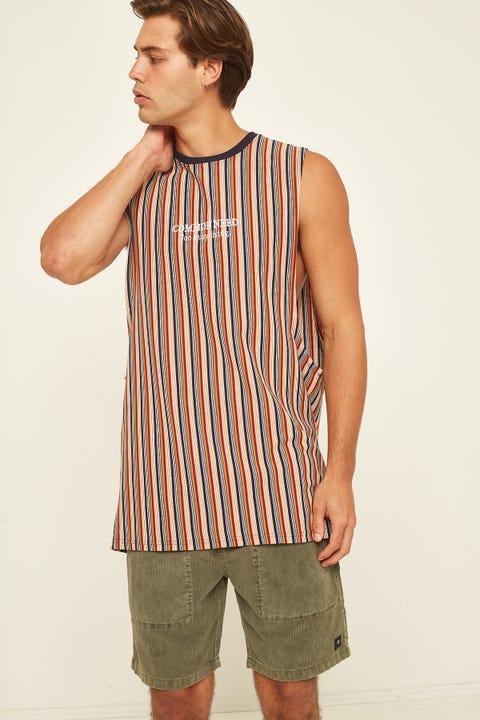COMMON NEED Alumni Vertical Stripe Muscle Rust Stripe