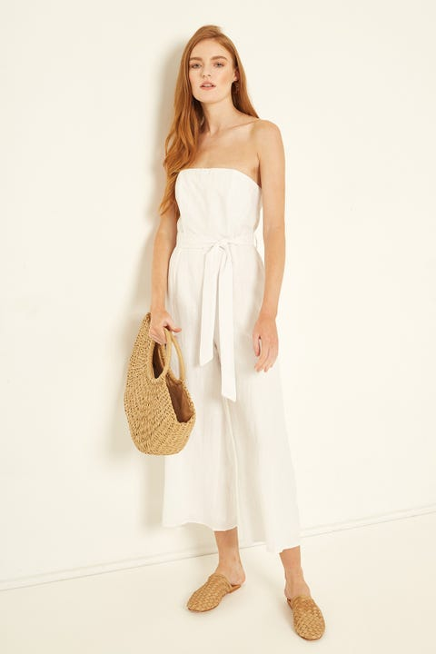 PERFECT STRANGER Luxe Linen Jumpsuit White