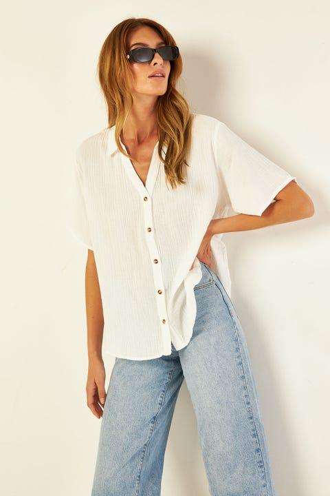 PERFECT STRANGER Free Living Short Sleeve Shirt White
