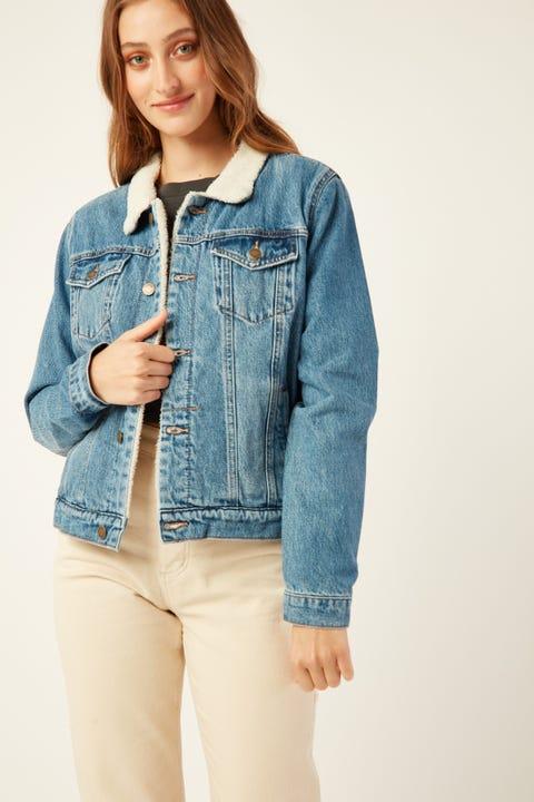 THRILLS Marlow Sherpa Jacket Vintage Blue