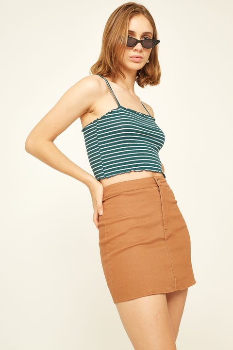 LUCK & TROUBLE Straight Line Skirt Tan