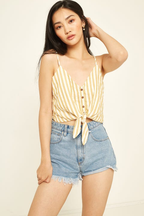 LUCK & TROUBLE Tie Cami Yellow Stripe Yellow Stripe